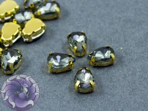 Кристалл в золотой оправе Капля 10x8мм Black Diamond