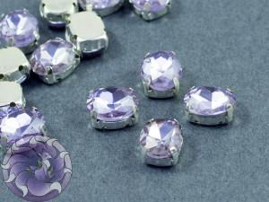 Кристалл в серебряной оправе Овал 10x8мм Violet