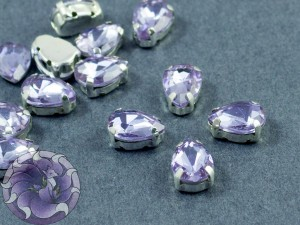 Кристалл в серебряной оправе Капля 10x8мм Violet