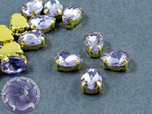 Кристалл в золотой оправе Капля 10x8мм Violet