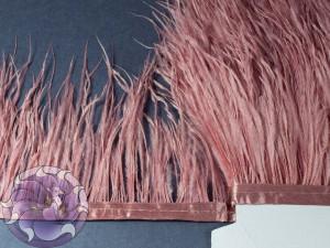 Лента из перьев страуса 8-10см цвет Пыльная роза