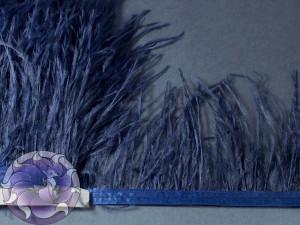 Лента из перьев страуса 8-10см цвет Темно синий