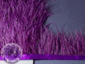 Лента из перьев страуса 8-10см цвет Фиолетовая слива