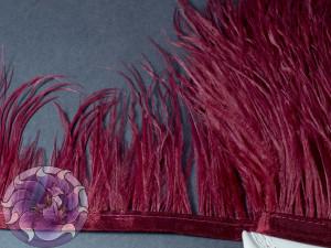 Лента из перьев страуса 8-10см цвет Бордовый марсала