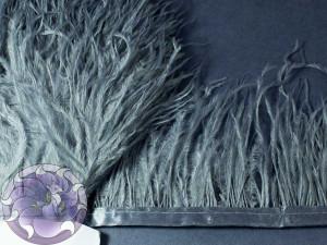 Лента из перьев страуса 8-10см цвет Серый стальной