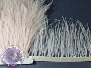 Лента из перьев страуса 8-10см цвет Бледно розовый