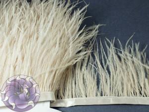 Лента из перьев страуса 8-10см цвет Ванильный