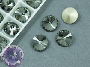 Кристаллы К9 Риволи 12мм цвет Black Diamond