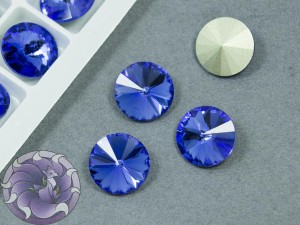 Кристаллы К9 Риволи 12мм цвет Sapphire