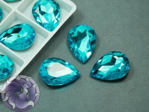 Кристалл стекло К9 Капля 25х18мм цвет Aquamarine