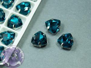 Кристалл форма Триллион 12мм, цвет Indicolite, оправа серебро