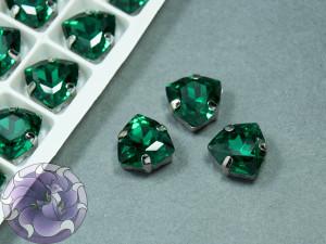 Кристалл форма Триллион 12мм, цвет Emerald, оправа серебро