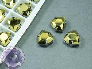 Кристалл форма Триллиант 12мм, цвет Dorado, оправа серебро