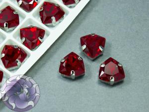 Кристалл форма Триллиант 12мм, цвет Light Siam, оправа серебро