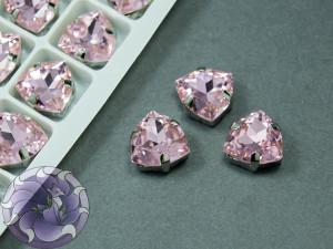 Кристалл форма Триллион 12мм, цвет Light Rose, оправа серебро
