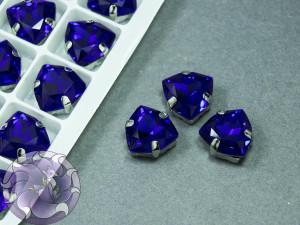 Кристалл форма Триллиант 12мм, цвет Capri Blue, оправа серебро