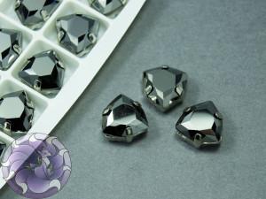 Кристалл форма Триллиант 12мм, цвет Jet Metallic Silver, оправа серебро