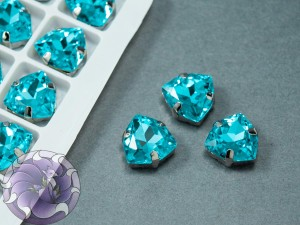 Кристалл форма Триллион 12мм, цвет Aquamarine, оправа серебро