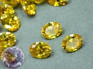 Кристалл фианит Овал 8х10мм Цвет Желтый