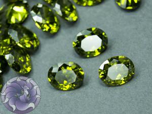 Кристалл фианит Овал 8х10мм Цвет Перидот