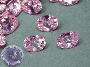 Кристалл фианит Овал 8х10мм Цвет Розовый