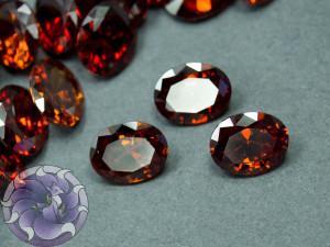 Кристалл фианит Овал 8х10мм Цвет Гранатовый