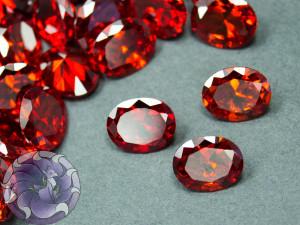 Кристалл фианит Овал 8х10мм Цвет Красно оранжевый