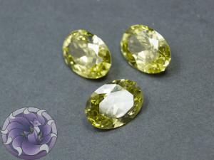 Кристалл фианит Овал 10х14мм Цвет Светло оливковый