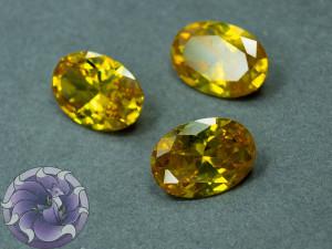 Кристалл фианит Овал 10х14мм Цвет Желтый