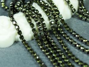 Стразовая цепь ss6 BN73/45 Оправа черная, Цвет Black Diamond 45