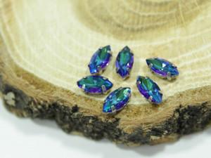 Кристалл Маркиз 6*4мм в серебряной оправе, Цвет Bermuda Blue