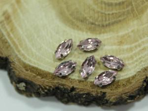 Кристалл Маркиз 6*4мм в серебряной оправе, Цвет Light Pink