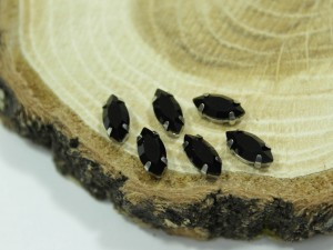 Кристалл Маркиз 10*5мм в серебряной оправе, Цвет Black