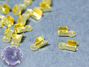 Концевики зажимы для цепочек со стразами 2мм Цвет золото