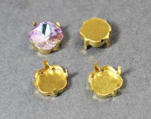 Оправы для кристаллов Квадрат золотые