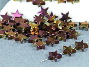 Бусина фигурная гематит Звезда 8х8мм фиолетовый