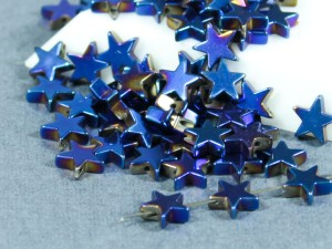 Бусина фигурная гематит Звезда 8х8мм синий