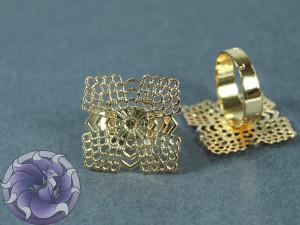 Основа для кольца филигрань квадрат 22мм Цвет золото