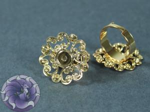 Основа для кольца регулируемая филигрань цветок 22мм Цвет золото