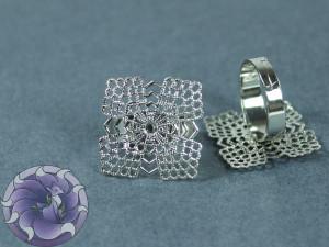 Основа для кольца филигрань квадрат 22мм Цвет серебро