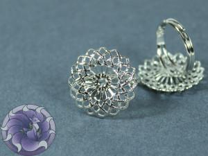 Основа для кольца регулируемая филигрань цветок 22мм Цвет серебро