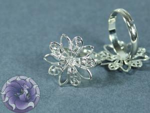Основа для кольца регулируемая филигрань цветок 19мм Цвет серебро