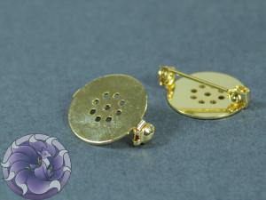 Основа для брошки круглая с перфорацией безопасная 18мм Цвет золото