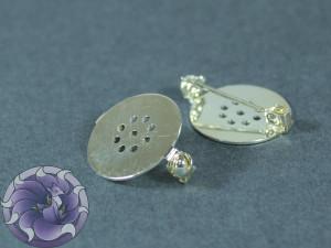 Основа для брошки круглая с перфорацией безопасная 18мм Цвет Серебро
