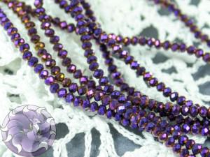 Бусины Рондели нить 2мм металлик фиолетовый