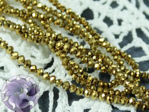 Бусины Рондели нить 2мм металлик золото