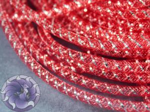 Трубчатый регилин белый 4мм, Цвет Красный с серебром