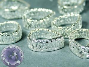 Оправы для кристаллов ажурная Капля 10х14мм, цвет серебро