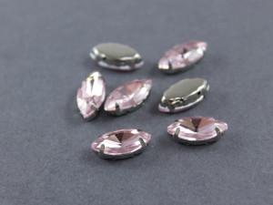 Кристалл Маркиз 15*7мм в серебряной оправе, Цвет Светло-розовый