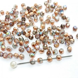 Fire polished 3mm Crystal Copper Rainbow